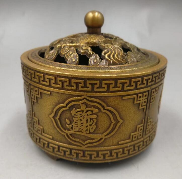 Antique antique old brass incense burner fortune into treasure sandalwood stove ornaments home accessories copper ornaments wholesale