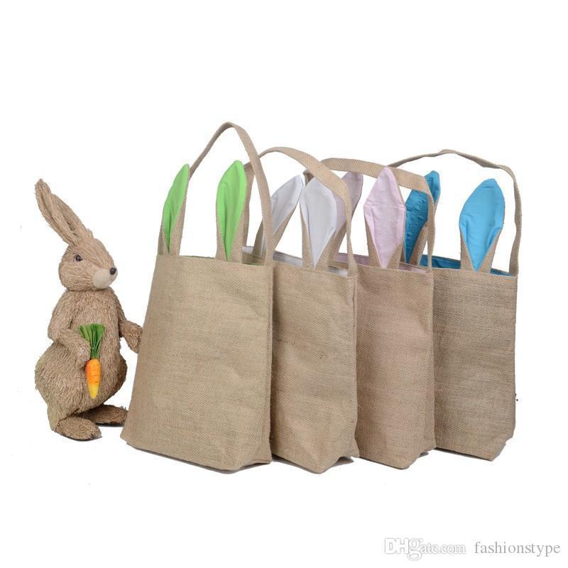 أطفال الخيش سلة عيد الفصح مع آذان الأرنب 14 ألوان أرنب آذان سلة لطيف عيد الفصح هدية حقيبة آذان أرنب وضع بيض عيد الفصح