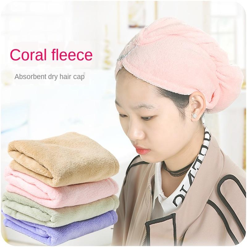 Quick Dry Towel Super Soft Absorbent Coral Fleece Dry Hair Caps Hair Thicken UK