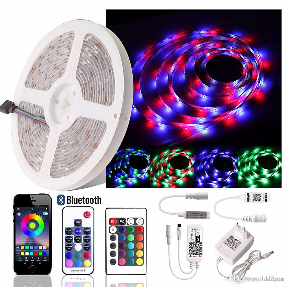 RGB LED Strip light SMD 2835 Waterproof Flexible LED Ribbon Diode Tape RF Bluetooth WiFi controller + 12V Power Adapter EU/US