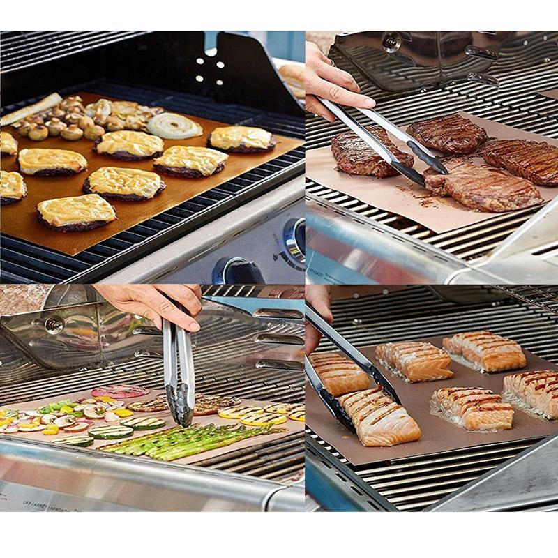 3PCS BBQ Grill Mat Bake Non-Stick Grilling Barbecue Pad Liner Food Cook Picnic