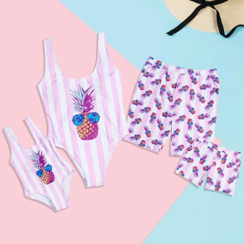 Família de banho da filha da mãe Swimwear Família Beach Mesma roupa Olhe Mommy and Me roupa do pai Filho Homens crianças nadar Trunks