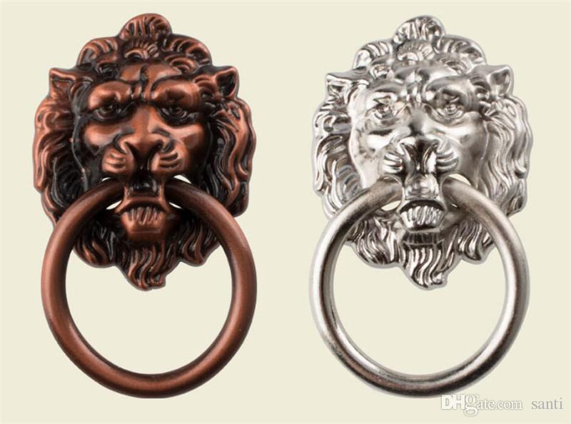 Yeni Ev 66 * 40mm Mobilya Lion Baş Antik Alaşım Kol Dolap Çekmece Kapı Çekme Retro Dekorasyon 1PCS ile Vidalı Canavar'ı kolları
