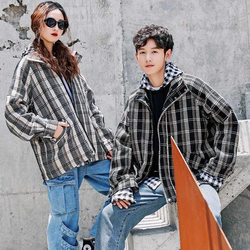 UYUK otoño Estilo nuevas parejas retro tela escocesa floja Jóvenes Casual chaqueta tendencia con estudiantes HOMBRE Streetwear ropa
