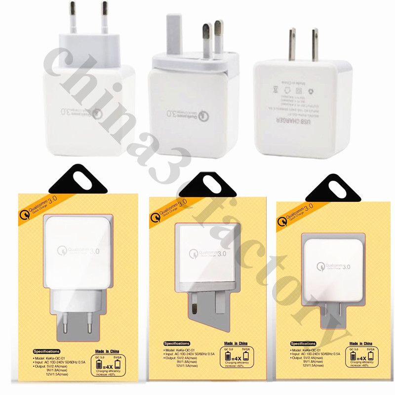 Быстрое адаптивное зарядное устройство QC 3.0 5V 2.4 A ЕС США Великобритания Ac главная зарядное устройство адаптер питания для iphone samsung с розничной коробке