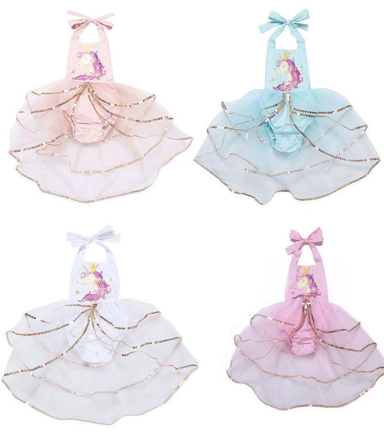 2019 Ins Baby Girls Unicorn Sleeveless Jumpsuits Romper Dress Fashion Newborn Infant sequins TUTU Back open Dress Onesies Bodysuit Clothing