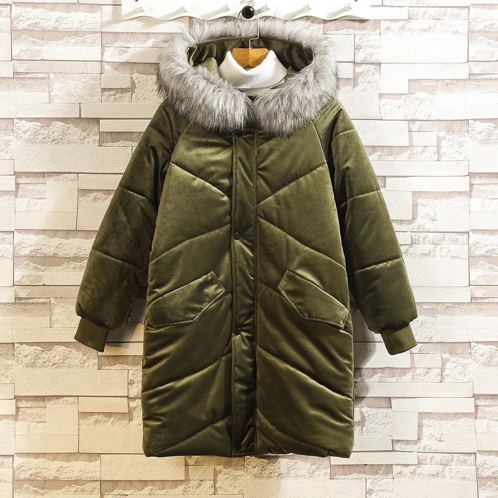 Otoño e invierno nuevo algodón, además de terciopelo grueso abrigo de algodón cuello de piel suelta de terciopelo largo del oro de los hombres de la capa caliente