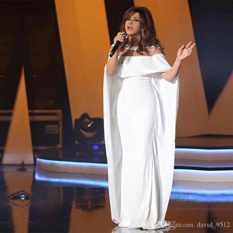 Novas árabes Vestidos com filme Vestidos de Festa Simples Mermaid Prom Vestidos Robe de sarau Cap Sleeve celebridade do tapete vermelho vestido 71