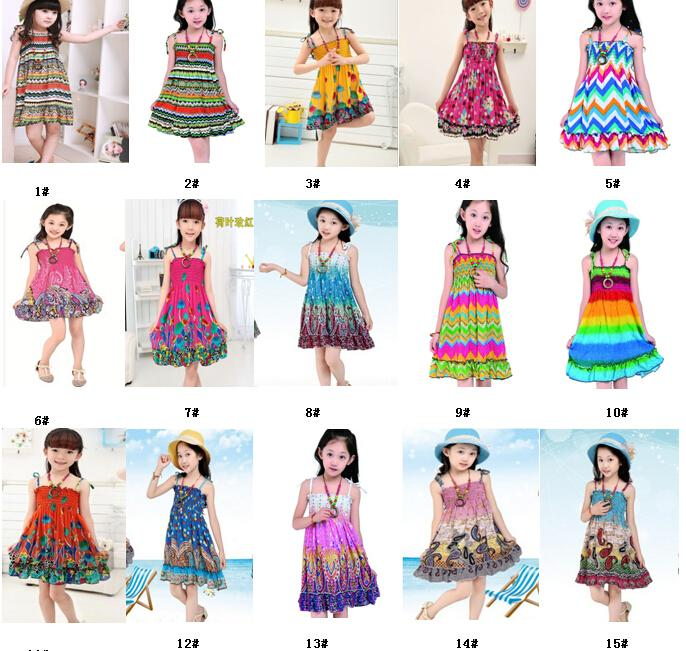 2019 2 10 Age New Kids Girls Dresses Fashion Knee Length Beach Dresses  Summer Sleeveless Bohemian Girls Dresses Free Gift From Kaiten, $65.55