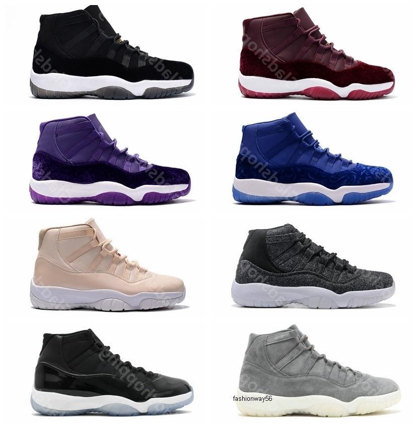 Laine Suede 11 velours gris Espace Héritière Confitures 72-10 Blue Legend Hommes Femmes GS Sport Basketball Chaussures Sneakers 11s Athletics avec la boîte