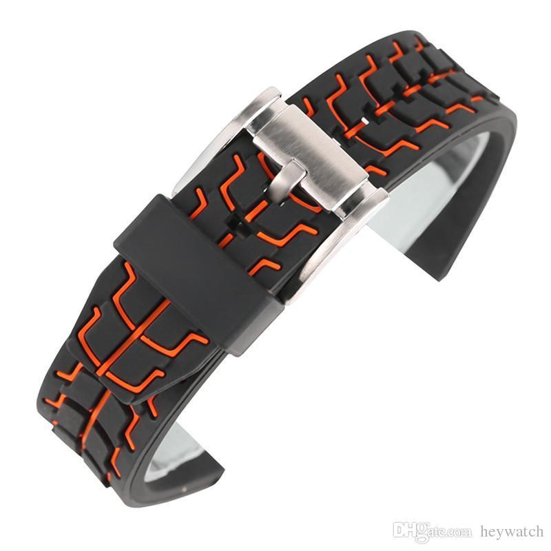 Kırmızı Mavi 20mm 22mm 24mm Erkekler Silikon Yumuşak Watch Band Pin Toka Erkek Bilek Yedek Saatler Kayışı + 2 Bahar Barlar
