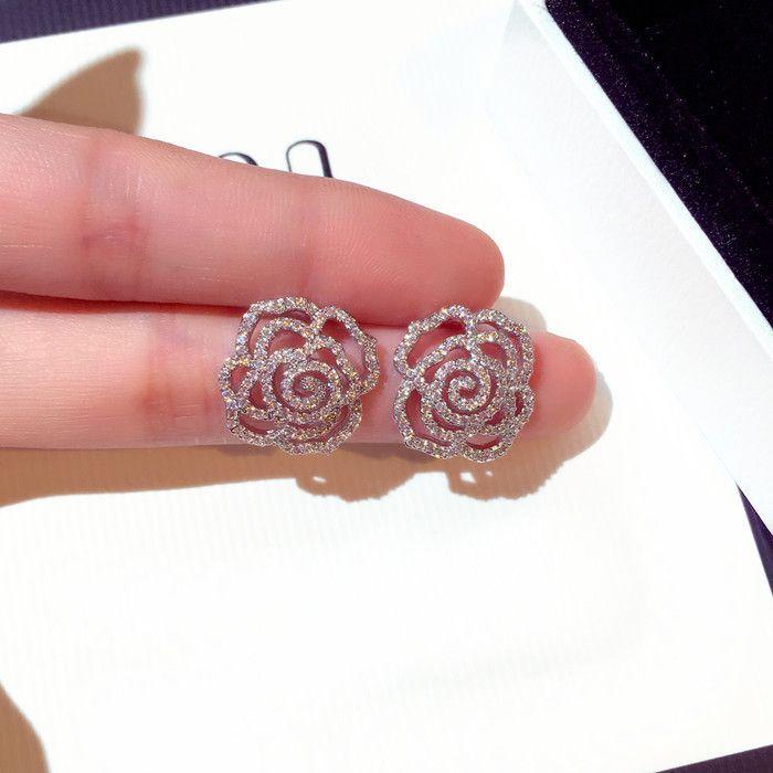 Wholesale- new hot ins fashion luxury designer diamonds zircon elegant camellia rose flower stud earrings for woman girls gold silver