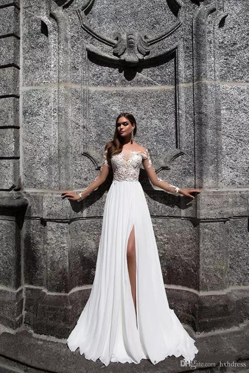 2019 New Elegant Lace Brautkleider Vorne Split Bateau Neck Long Sleeves Brautkleider Bodenlangen Plus Size Milla Nova A Line prom