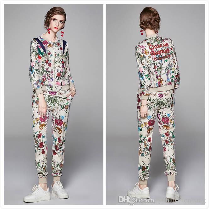 럭셔리 숙 녀 활주로 꽃 두 조각 긴 소매 인쇄 자켓 코트 + 긴 바지 2 개 슬림 우아한 여성 디자이너 두 조각 바지