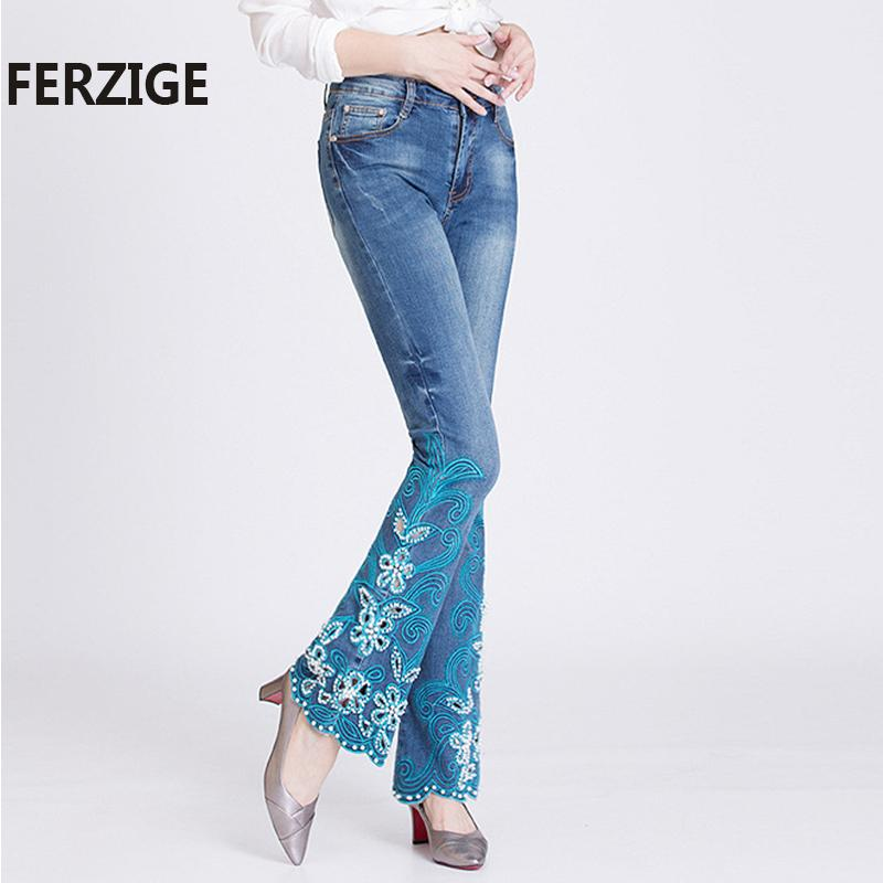 FERZIGE Kadınlar Jeans Yüksek Bel Stretch Açık Mavi Nakış fişekleri Pantolon El Boncuk Kadın Hollow Çıkan Bell Altları Jeans