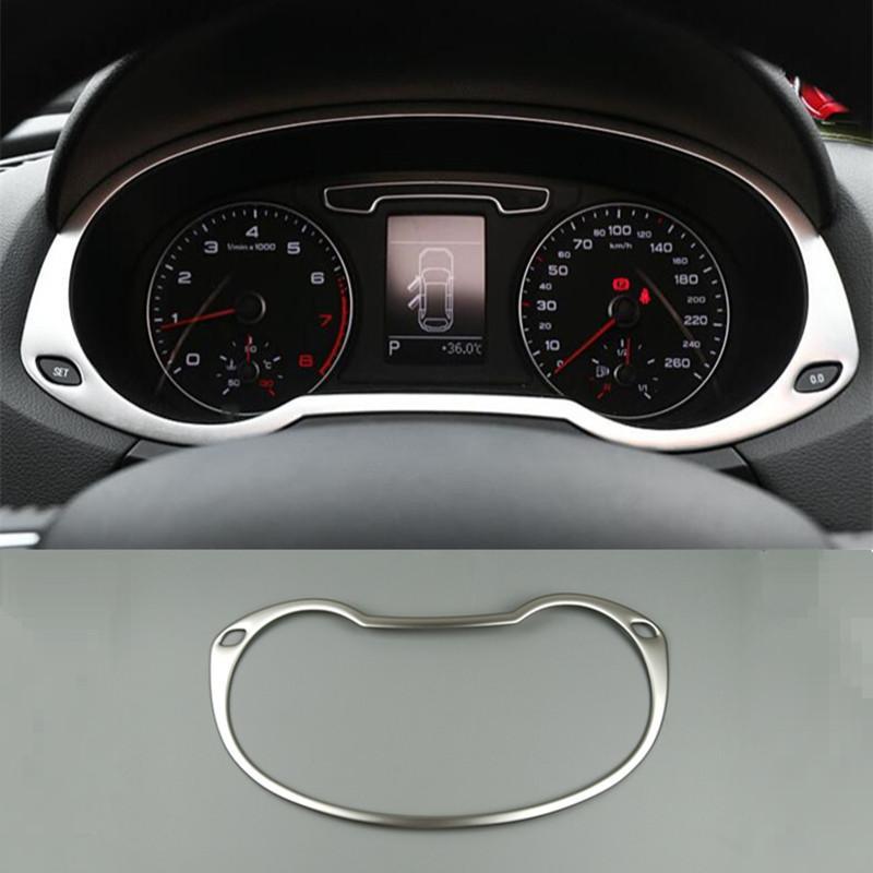 Araba Styling Oto Kilometre Dekorasyon Çerçeve Paslanmaz Çelik Kilometre Sayacı Kapak Audi Q3 2013-2017 İç Aksesuarla ...