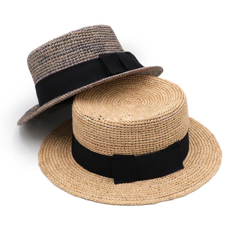 202006-gaoda-100101 estate fedoras rafia a mano piatta nastro erba per il tempo libero cap uomini donne panama jazz del cappello all'aperto