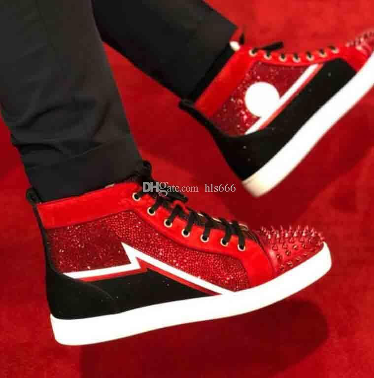 cuir daim rouge + strass strass haute top dopés baskets sneakers de fond rouge chaussures pour hommes, femmes appartements de loisirs unique rouge mariage