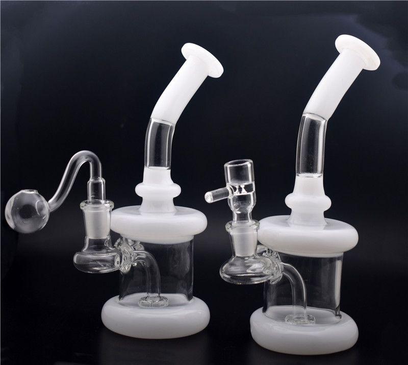 dos equipos de perforación estilo Hitman cristal Bongs clásico Dab Rigs grueso Birdcage reciclador de aceite Tuberías de agua que fuma con el tubo del quemador de aceite de cristal de 14 mm y el cuenco