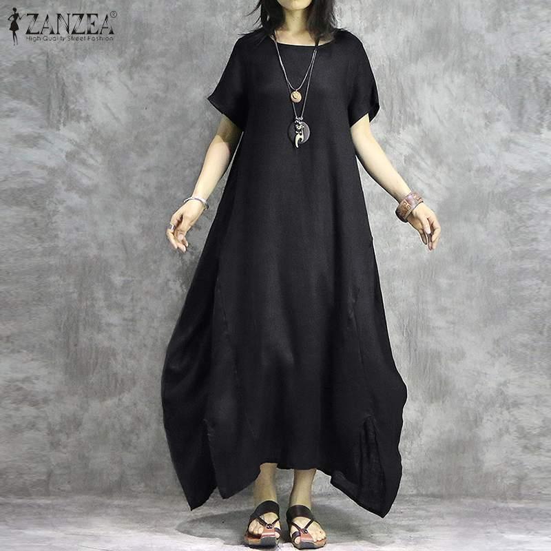 2020 ZANZEA الصيف O عنق القميص اللباس خمر الصلبة القطن طويل فستان الشمس المرأة قصيرة الأكمام غير المتكافئة Vestidos أنثى Katfan