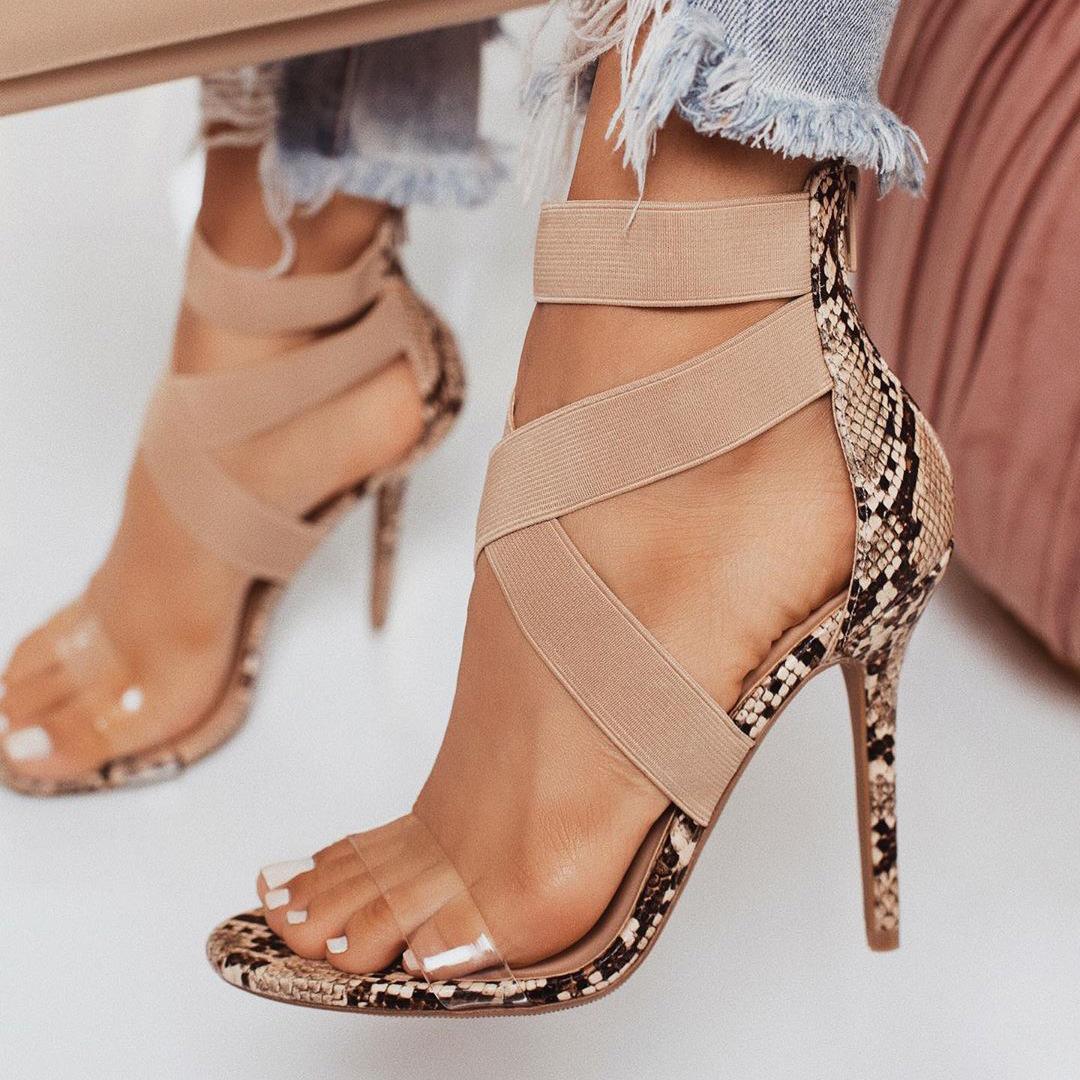 LEOPARD LAND большой размер туфли на высоком каблуке серпантин эластичные сандалии ПВХ прозрачные сандалии тонкий каблук Leopard land