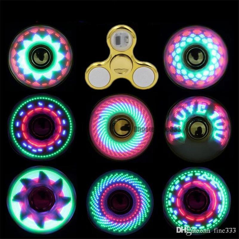 Fidget Spinner Toy Coolest led Flash Light Rainbow Spinner kids toys auto change pattern Fast rotating Toys