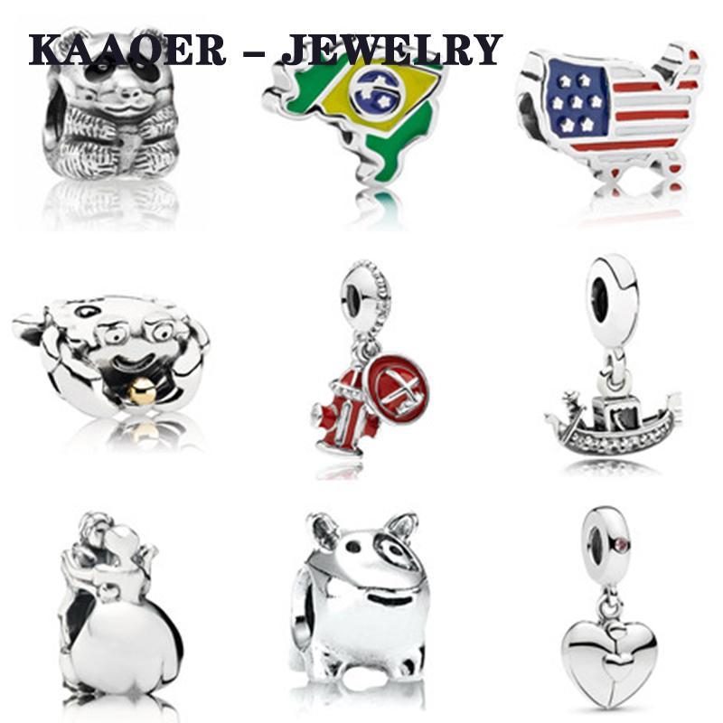 KAAOER 2019 новый 100% 925 серебро Plane любовь корабль медведь танец пара кулон Струнный ювелирные изделия DIY бисером детей