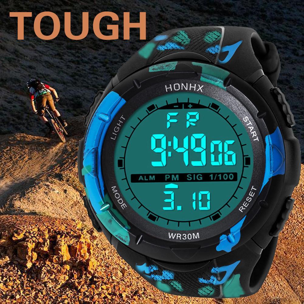 20 9 New Fashion Waterproof Men's Boy Lcd Digital Stopwatch Date Rubber Sport Wrist Watch Boys Electronic Watch Dignity