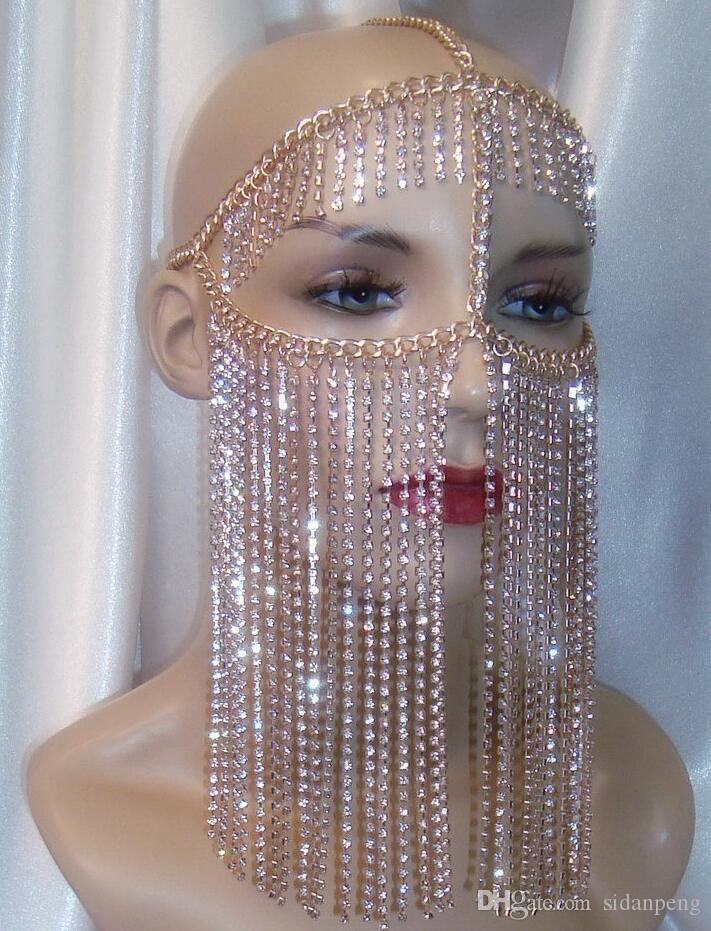 Femmes rock Harnais Chaînes couleur Tête d'Or Bijoux conception unique de luxe cristal de la chaîne Glands Face Mask Chaînes Bijoux