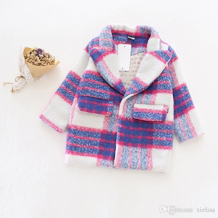 Mädchen Herbst Winter Wollmantel neue Mode Baby Mädchen Wolle Blazer Mantel Jacke Kinder Outwear romantisch lila Trenchcoat