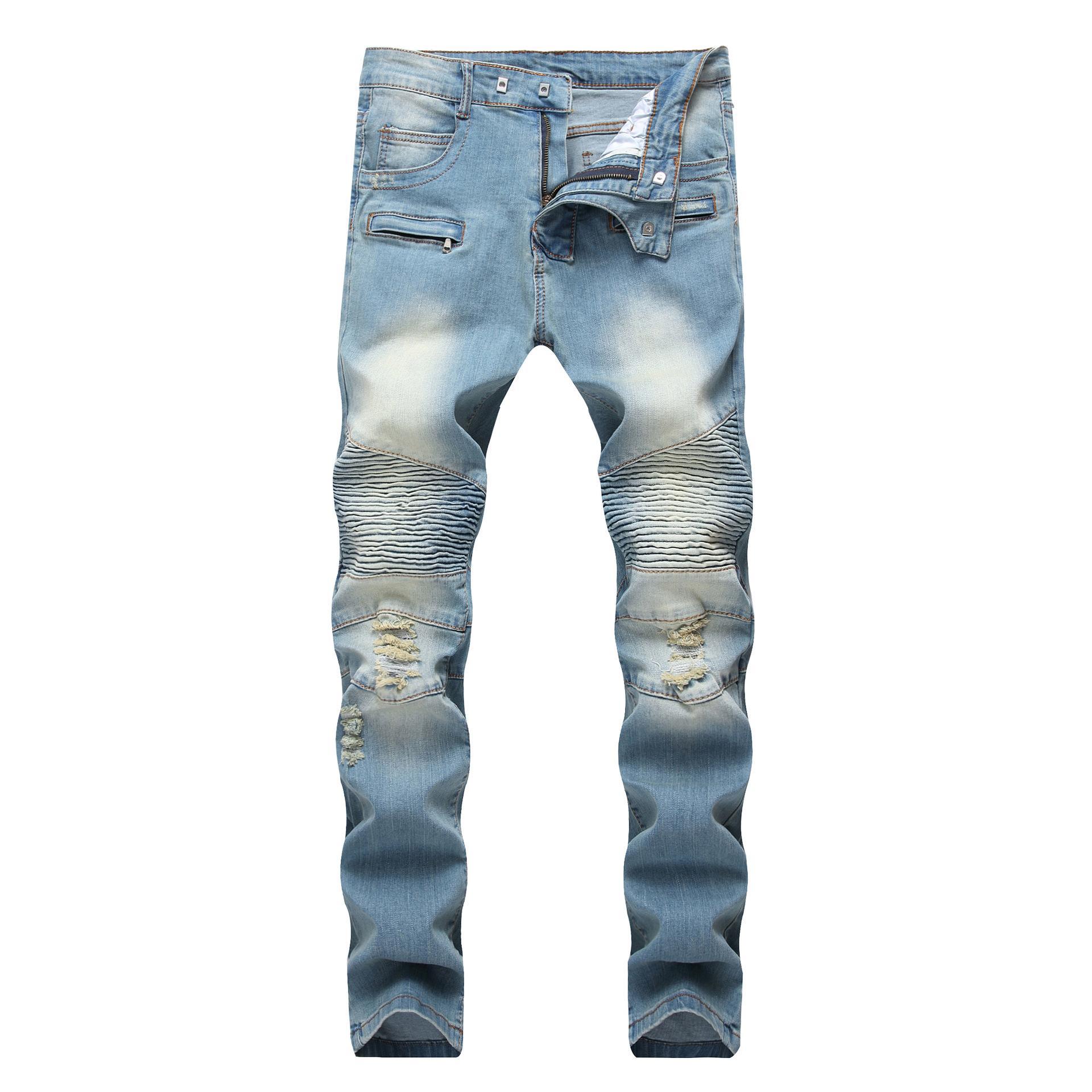 MarchWind Marque de mode Hip Hop Patch Hommes Retro Jeans genou Rap trou Zippé Biker Jeans Hommes en vrac Slim Détruits Torn Jeans Homme Ripped