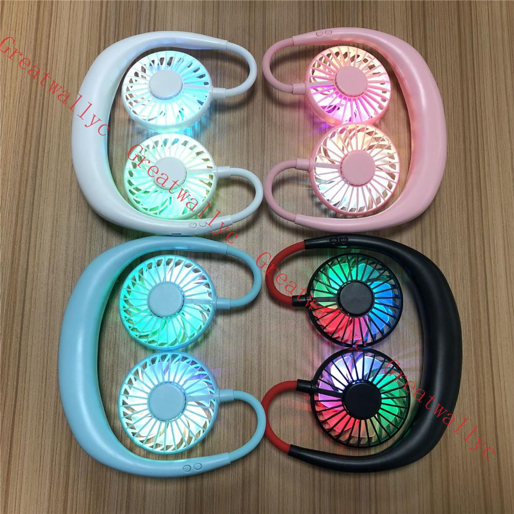 3 поколения USB портативный вентилятор громкой связи шеи висячие USB зарядка Мини Портативный Спорт Вентилятор 3 Шестерни Usb КОНДИЦИОНЕР Вентиляторы с лампочками