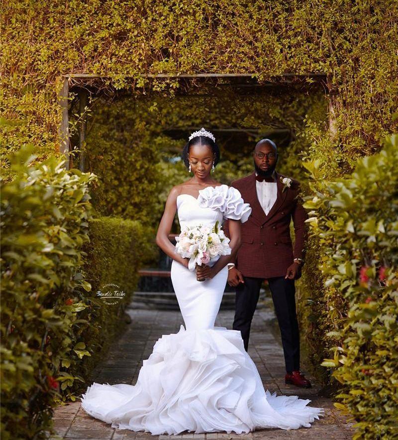 Robes de mariée de mariée de la sirène blanc africain 2020