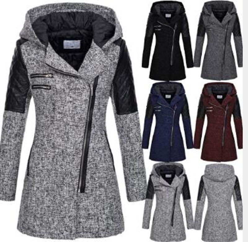 Outono atacado e inverno alta qualidade das mulheres novo oblíqua zíper com capuz de lã trench coat