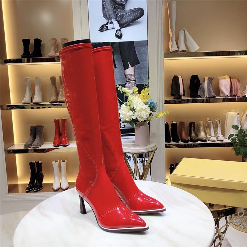mujeres forman los zapatos de zapatos de tacones altos encima de la rodilla botas mujer zapatos de 2020 nuevas mujeres famosas botas Calcetines