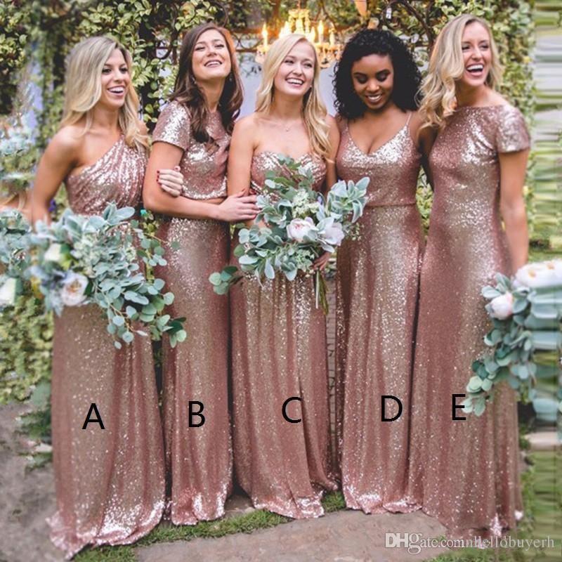 2019 rosa oro lentejuelas vestidos de dama de honor del mismo color estilo diferente sirena país largo criada de honor dama de honor vestidos