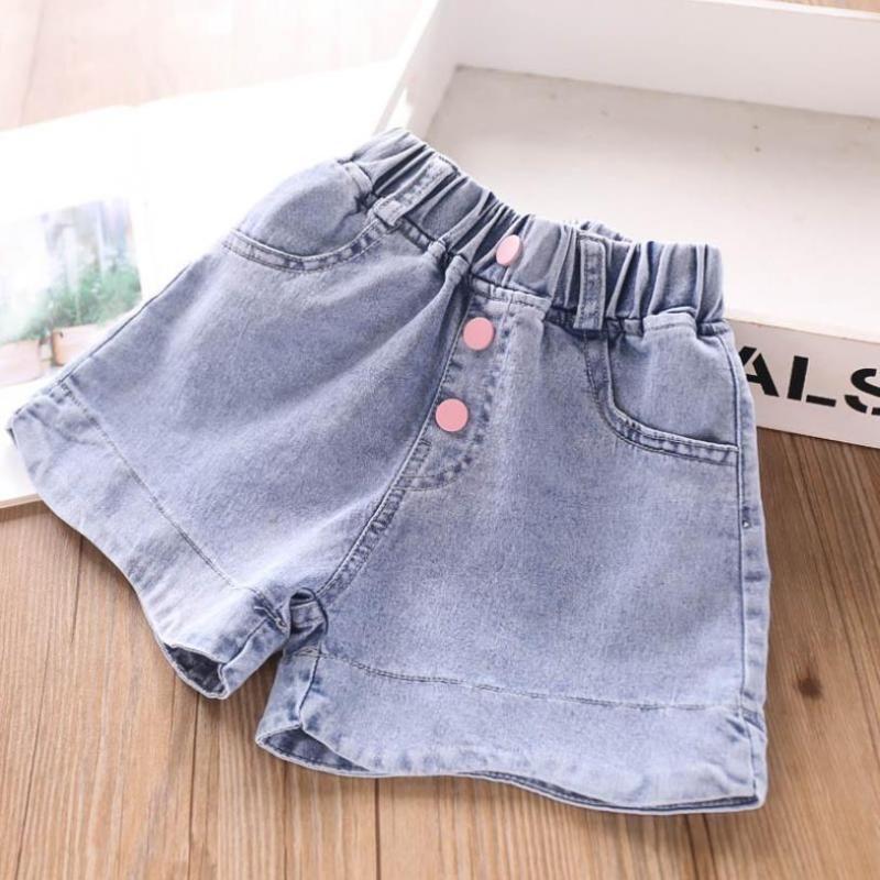 3T-10T Wholesale Children's denim shorts baby girls clothes Button design GIrls casual hot pants kids clothes jeans shorts L232