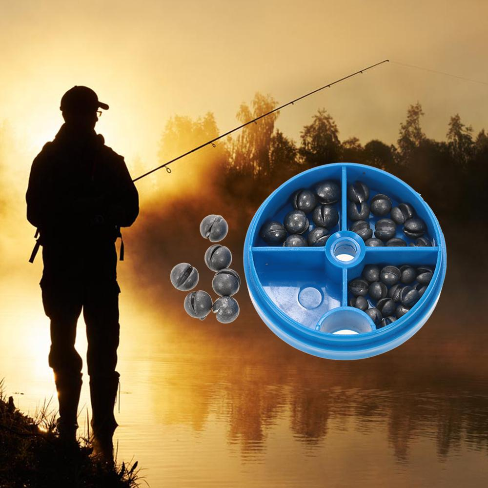 0.6/1/1.5/1.8g Round Split Shot Lead Weight Pesca Fishing Tackle Tool Accessories Lead Drop Black Fishing Sinker Kits With Box