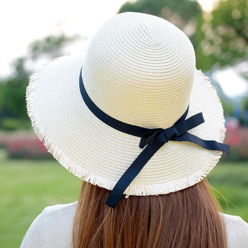bb-5 Fashion Beautiful Adult Cap Bow Straw Hat Summer Women Beach Hats