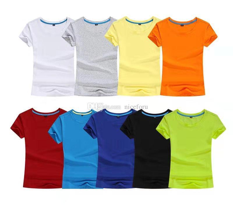 NICEFORU di alta qualità delle donne manica corta girocollo 9colors casuali semplice comodo maglietta proprio logo design regalo fai da te per la famiglia e gli amici