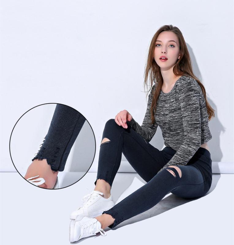 Женщины Hole рваные джинсы Женщины Sexy Сельма подходят брюки карандаш Jeggings высокой талией Тощий джинсовые брюки плюс размер Эластичный мама джинсы