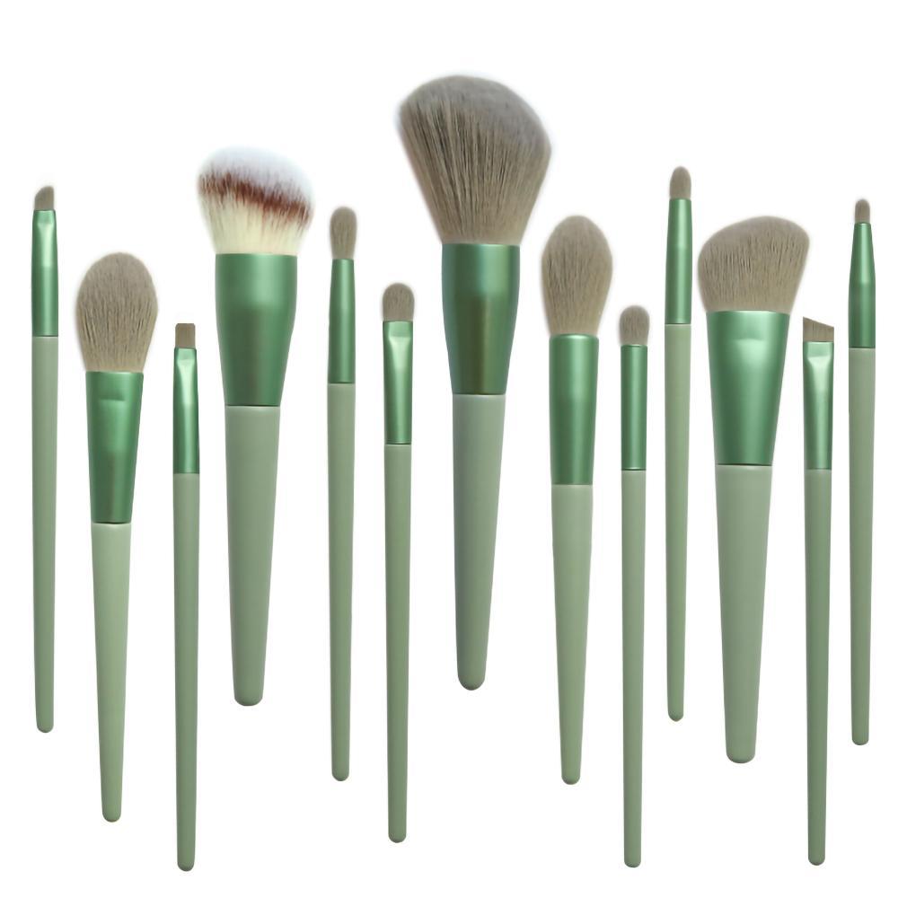 13PCS Grüne Make-up Pinsel Set Powder Foundation Lidschatten Blusher Professional Beauty Make-up Pinsel weiches Haar kosmetische Werkzeuge