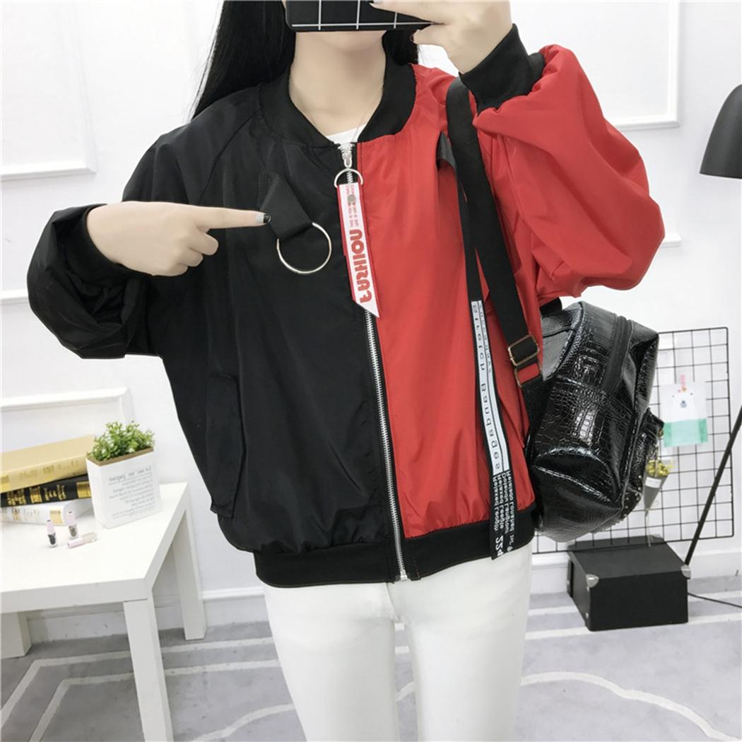 Autumn Casual Patchwork Bomber Jacket Women Fashion Belt Zipper Flight Jackets Thin Coat Hit Color Baseball Jacket Outerwear