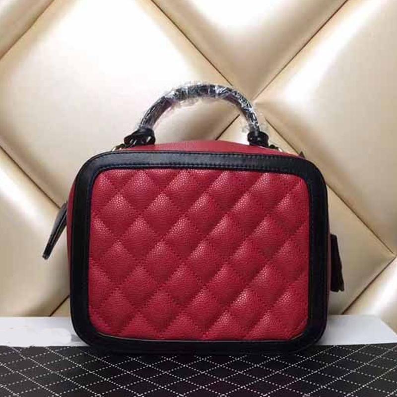 Designer- 격자 퀼트 어깨 가방 상자 모양의 핸드백 여성 체인 숄더 가방 유명 브랜드 정품 가죽 크로스 바디 백 작은 지갑