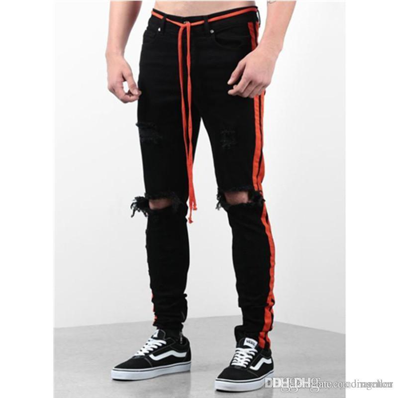 Mens New Designer lambrissé Jeans mode Ripped genou Pull Strap Jeans Casual poche cordonnet hommes Vêtements régulier