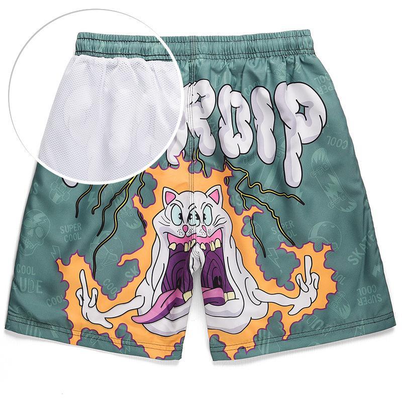 Brand Summer Funny Print Board Shorts Men Fashion High Quality Men's Casual Shorts Waterproof Quick-drying Swimshort Mesh Lining