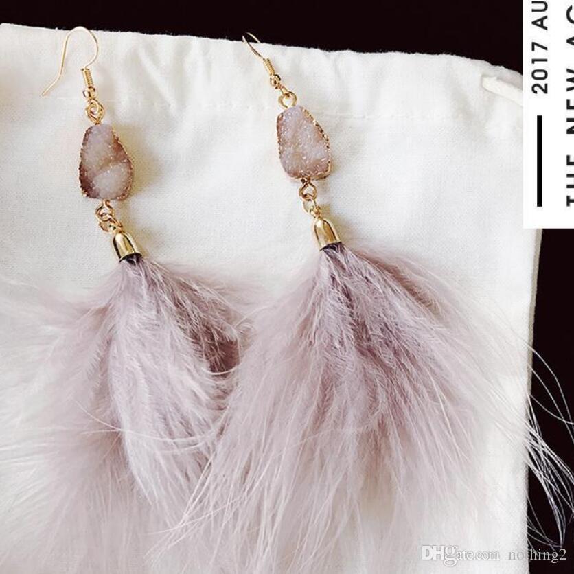 diseñador de joyas acrílico cuelga los pendientes mástil de plumas borla colgante pendientes la ligera simple para la mujer caliente de la moda