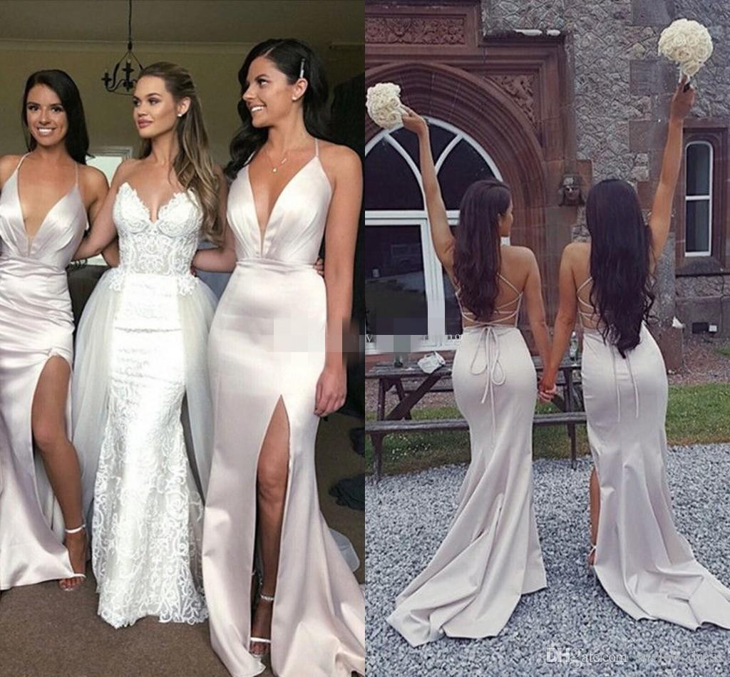 Sexy vestidos de dama de honor sin espalda satinados pliegues pliegues pliegues ruchados lateral lateral más tamaño criada de la boda del país