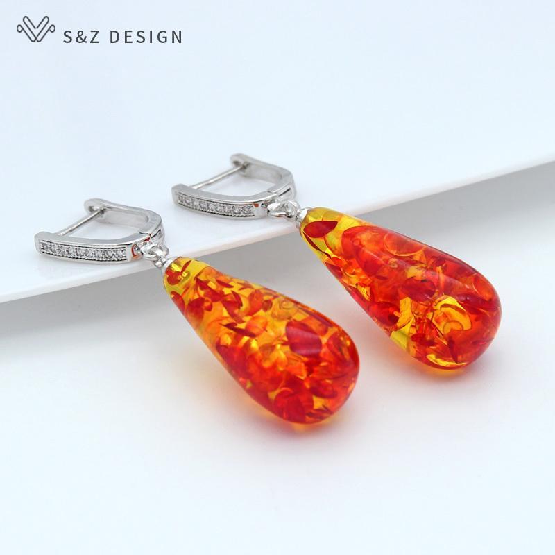 Мода-Новый Модный Красочный Цветок Ambers Water Drop Мотаться Серьги 585 Розовое Золото Темперамент Eardrop Женщины Свадебные Изысканные Ювелирные Изделия