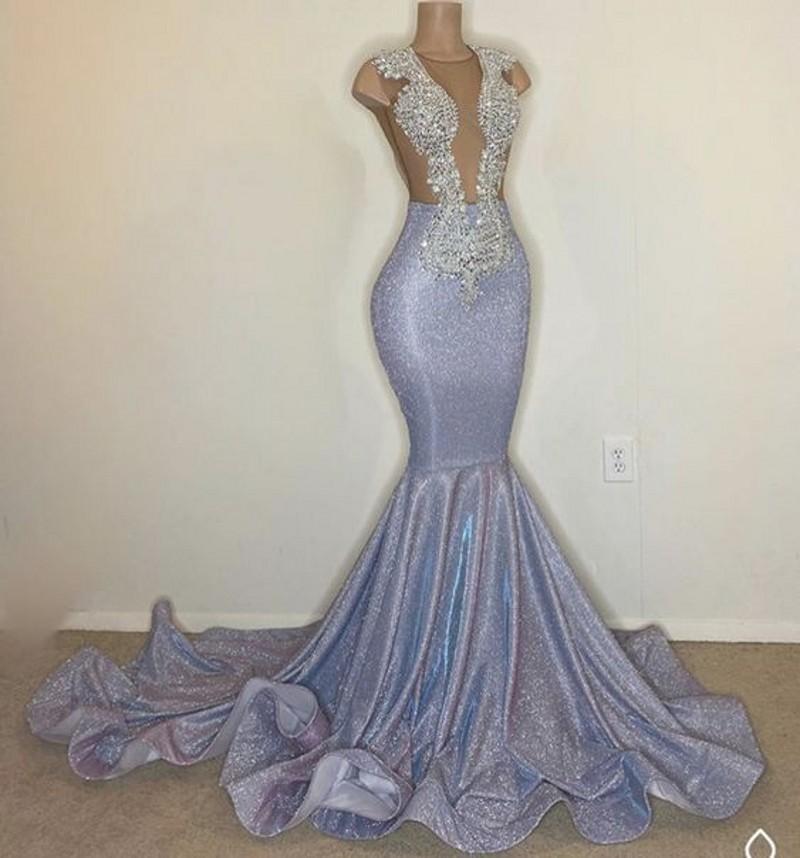Black Girl africani paillettes argento Prom Dresses 2020 Nuova Backless sexy degli abiti di sera del merletto di Applique Sparkly vestito celebrità riflettente